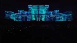 Бухарестский Дворец Парламента и архитектурный 3D mapping на его фасаде