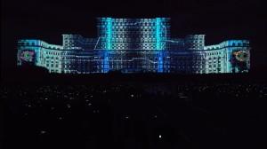 Бухарестский Дворец Парламента с архитектурным видеомэппингом