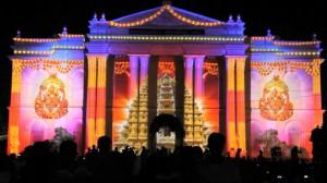 Прекрасный 3D mapping на индийском фестивале Mysore Dasara