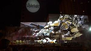 Поражающий воображение симбиоз уличного граффити и видео мэппинга