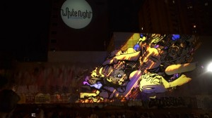 Восхитительный симбиоз уличного граффити и видео-мэппинга