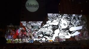 Грандиозный симбиоз уличного граффити и видео-мэппинга